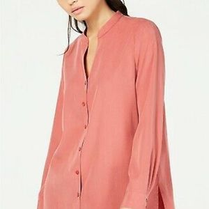 New Sandwashed Tencel Stand Collar Shirt Blouse
